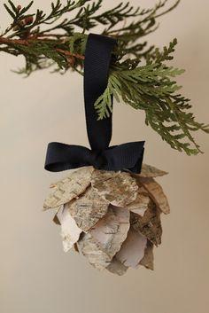 birch bark pinecone ornament made like the map ornament Pinecone Ornaments, Homemade Ornaments, Homemade Christmas, Diy Ornaments, Tree Bark Crafts, Birch Bark Crafts, Woodland Christmas, Rustic Christmas, Christmas Holidays