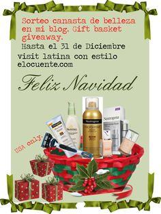 Sorteo de cesta de belleza Navidad valor $100 hasta 31 de Diciembre. En latina con estilo elocuente.com. Si te gusta pin it!