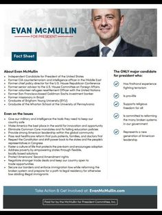 Patriotic Americans looking for a true conservative who shares their values may finally have someone to vote for in November. Who is Evan McMullen http://evanmcmullin.com/about, and why is he running as an Independent candidate for President of the United States? Learn more http://d3n8a8pro7vhmx.cloudfront.net/evanmcmullin/pages/606/attachments/original/1475185717/Evan_McMullin_Fact_Sheet_Letter_Size_Handout_.pdf?1475185717 and #StandUpWithEvan. #YouHaveAChoice; #McMullinFinn…