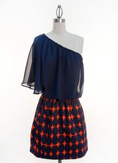 Judith March Design - Navy One Shoulder Chiffon Blouson Bodice with Navy and Orange