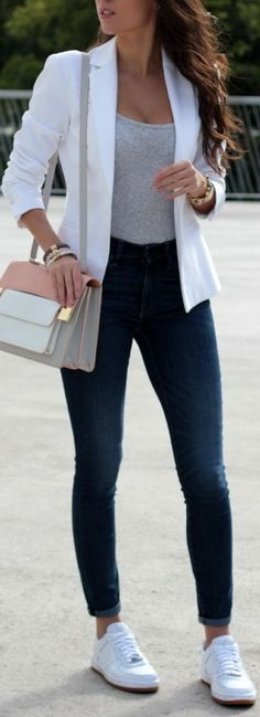 White Blazer Gray Fitted Tank Denim Skinnies White Sneakers Fall Inspo by Style … - Uber Mode Moda Casual, Casual Chic, Sporty Chic, Comfy Casual, White Casual, Sporty Style, Mode Outfits, Fashion Outfits, Fashion Trends