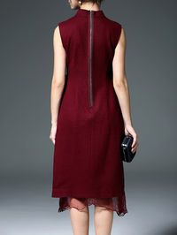 Embroidered Wool Blend Midi Dress  I would change the zipper to an invisible zipper. Give the dress sleeves and a proper side and get rid of the flimsy see through material.