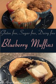 Blueberry Muffin Recipe - Gluten Free, Sugar Free, Dairy Free - Always Baking Company Sugar Free Desserts, Sugar Free Recipes, Sweet Recipes, Dessert Recipes, Gf Recipes, Diabetic Desserts, Diabetic Recipes, Moist Blueberry Muffins, Blue Berry Muffins