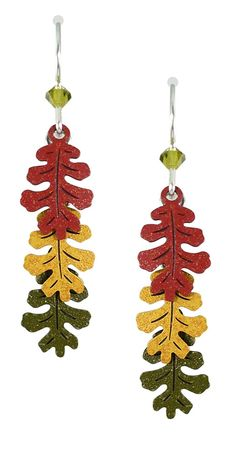 Sienna Sky 3-part Oak Leaves in Autumn Colors Dangle Earrings 1558 * Read more at the image link. (This is an affiliate link) #Earrings