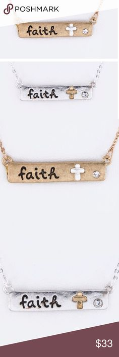 """Faith Bar Necklaces Faith Bar Necklaces. 16"""" + Extension.  _______________________________________  [Trindy Clozet Boutique Policies]  ✅ Next Business Day Shipping (possibly same day) ✅ Retail prices are firm unless bundled.  ✅ No trades.  Find more styles on our website@  Spreesy.com/trindyclozet  Insta trindy_clozet FB TrindyClozet Twitter trindyclozet Jewelry Necklaces"""