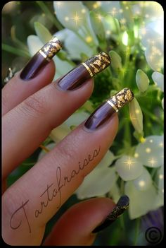 Luxury - nail art designs / brown and gold nails
