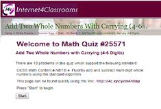 "This is an image from this resource on the Internet4Classrooms' ""Fourth Grade Interactive Math Skills - Addition"" resource page:    Add Two Whole Numbers with Carrying (4-6 Digits).    Fluently add multi-digit whole numbers using the standard algorithm with this online quiz that is self checking."