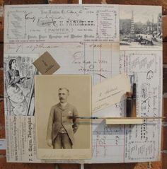 The Art of New London,Assemblage/Collage, Original Antique Items 1800's, Cradled Wood Panel, 12x12, M. Kennedy - Artist.