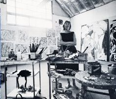 Lee Krasner at her studio in Springs, Easthampton, Long Island.        Reposted from the blog: Read My Spine