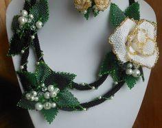 A set of jewelry from beads Velvet by BeadedJewelryVirunia on Etsy
