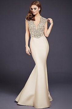 Champagne Mermaid Lace Top Dress 40322