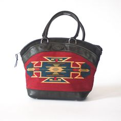 vintage native american print hand bag / tribal navajo aztec southwestern