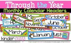 Through the Year Calendar Headers by Maria Gavin Classroom Calendar, Classroom Themes, Classroom Organization, Classroom Management, Preschool Calendar, Free Teaching Resources, Teacher Resources, Learning Activities, Preschool Learning