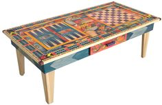 Urban Game Table with Checkers, Cribbage, Backgammon, and Matching Chess Set