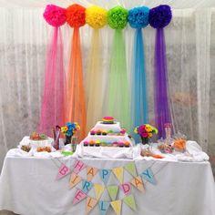 Rainbow birthday - First Birthday Party Decor - meadoria Trolls Birthday Party, Rainbow Birthday Party, Unicorn Birthday Parties, Birthday Fun, First Birthday Parties, Birthday Party Themes, Troll Party, Birthday Table, Birthday Ideas