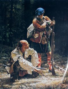 Scottish Highlander and Iroquois brave, 1750's.  Two tribal warriors serving an empire that cared for neither. Painting by Robert Griffing