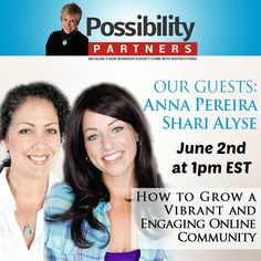 Join Anna and Shari June 2nd at 1pm EST on Google+ as they talk to Ande Lyons about How To Grow A Vibrant And Engaging Online Community. Here is the link to join: https://plus.google.com/…/events/cce7jgrf7coge9sqap0f41ktkb8