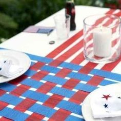 Basket weave your streamers for a simple table decoration. | 31 Last-Minute 4th Of July Decorating Tricks