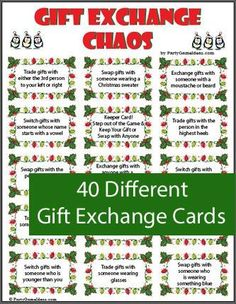 Gift Exchange game includes a variety of gift exchange cards and blank cards too. Look like fun.