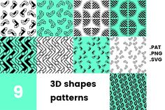 3D shapes pattern pack by Michał Pieczyński on @creativemarket
