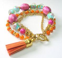 Boho Multi Strand Tassel Bracelet Pale by SwankyJewels on Etsy