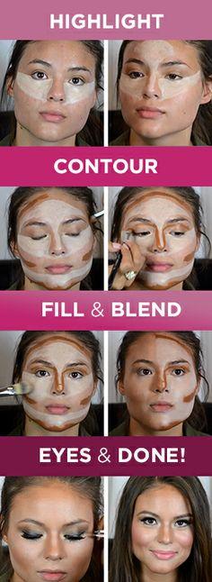 Contour Makeup, Contouring And Highlighting, Mac Makeup, Makeup Cosmetics, Makeup Tips, Beauty Make Up, Hair Beauty, Beauty Style, Beauty Secrets