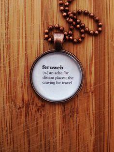 Traveler Necklace - Word Definition Pendant - Fernweh Gift for Writer Gift for Book Lover Traveler Gift World Traveler Traveling