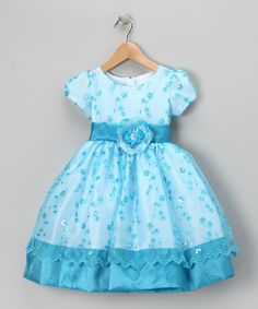 Take a look at this Turquoise Flower Sequin Organza Dress - Infant, Toddler & Girls by Birthday Girl: Party Dresses on #zulily today!