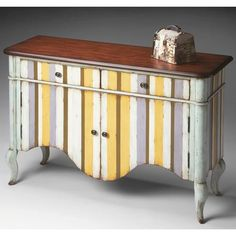Chest - Pastel Stripe - 6012231. Chest - Pastel Stripe - 6012231 Unique hand painted design on solid woods and wood products. Undulated cherry veneer top with brandy finish. Two English dovetail drawers. Open storage area behind two doors. Antique brass fini.. . See More Chests at http://www.ourgreatshop.com/Chests-C698.aspx