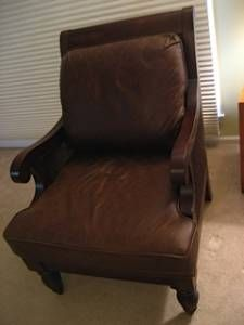 ethan allen old looking leather chair