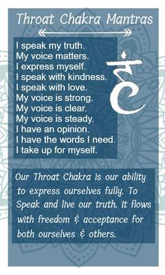 Mantra .... Throat Chakra is all about expression of self! Knowing how to use your voice and understand the power of words. #calmpoint #focusfromyourear