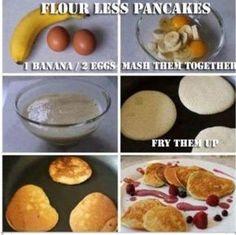 Super nemme og sunde pandekager med æg og banan.
