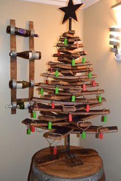 Wine Barrel Tree with Cork Ornaments