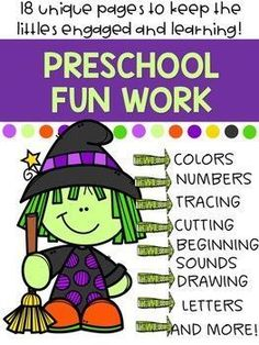 Sep 21, 2019 - No Prep Math and Literacy Worksheets for preschoolers. 18 unique pages that provide lots of opportunities for differentiation. Topics included:Counting. Shapes. Matching upper cases with lower cases. Maze. Coloring. Cutting along the lines.Color by number. Tracing. Which number is missing. Circle th... Reading Resources, Teacher Resources, School Resources, Halloween Worksheets, Number Tracing, Literacy Worksheets, Learning Activities, Classroom Activities, Classroom Ideas
