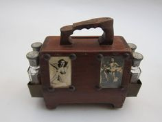 Miniature Shoe Shine Stand Coin Bank   From a unique collection of antique and modern more folk art at https://www.1stdibs.com/furniture/folk-art/more-folk-art/