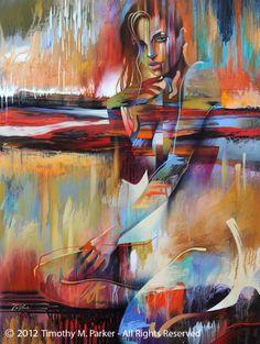 "Figure Art Painting - Artist Tim Parker ""Mystify"" Abstract Figurative Artwork Print"