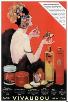 Gorgeous 1924 ad for Vivaudou cosmetics.