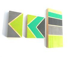 Chevron, Arrow, Green, Blue, Gray, Modern Art, Mid Century, Eames on Etsy, $58.00