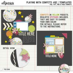 30% off now through Feb 14th Sunday! Playing With Confetti #02 | Templates by Akizo Designs - for Digital Scrapbooking Layout