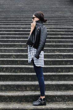 leather & gingham #style #fashion