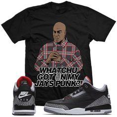 048e60e4259f Jordan Retro 3 Black Cement Sneaker Tee Shirt to match made by MDM Clothing.  Shirt