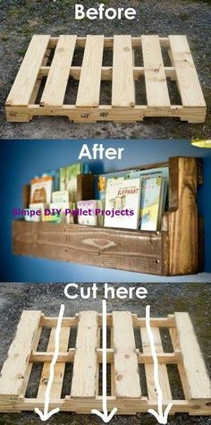 Brilliant DIY Shelves for Your Home - For Creative Juice - Pallet woods are. - Brilliant DIY Shelves for Your Home – For Creative Juice – Pallet woods are a versatile DI - Diy Pallet Furniture, Diy Pallet Projects, Furniture Ideas, Outdoor Furniture, Wooden Furniture, One Pallet Ideas, Garden Projects, Wood Pallets Projects, Wooden Pallet Ideas