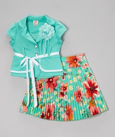 Look what I found on #zulily! Mint Floral Pleated Skirt Set - Toddler & Girls by Kidz WinC #zulilyfinds