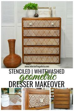 furniture muebles With just a bit of elbow grease and very little paint, this well used dresser was redeemed with a whitewash finish and stenciled geometric dresser makeover. Repurposed Furniture, Shabby Chic Furniture, Painted Furniture, Refurbished Furniture, Antique Furniture, Furniture Stencil, Stencil Dresser, Rustic Furniture, Diy Furniture Upcycle