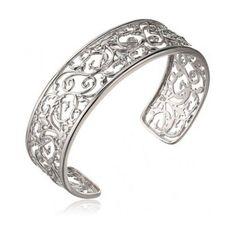 """Sterling Silver Filigree Cuff Bracelet, 7.25"""" #Cuff"""