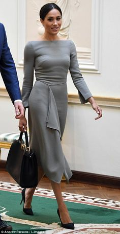 The royal looked stunning in her tailored dress...