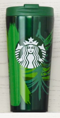 Insulated stainless steel tumbler with Siren logo and green-on-green tree design. #Starbucks #DotCollection