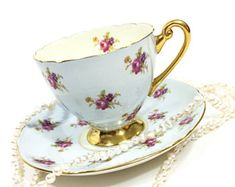 Shelley Tea Cup Saucer, Hulmes Rose Chintz, Periwinkle Pale Blue, Ripon Shape, Gold Pedestal & Rims, Vintage English Bone China Tea Cup