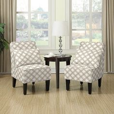 Armless Accent Chair (with Matching Pillows), Set of 2, H…