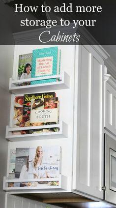 Add Storage To Your Cabinets Using Ikea Spice Racks.